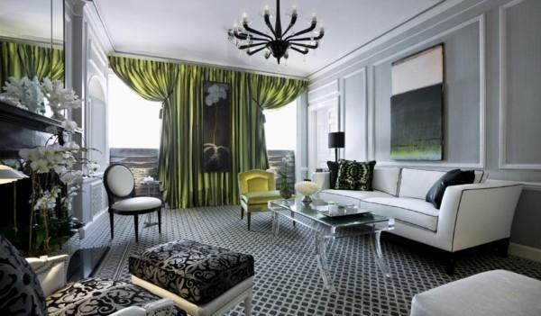 wandfarbe hellgrau grüne akzente stilvolle muster teppichboden