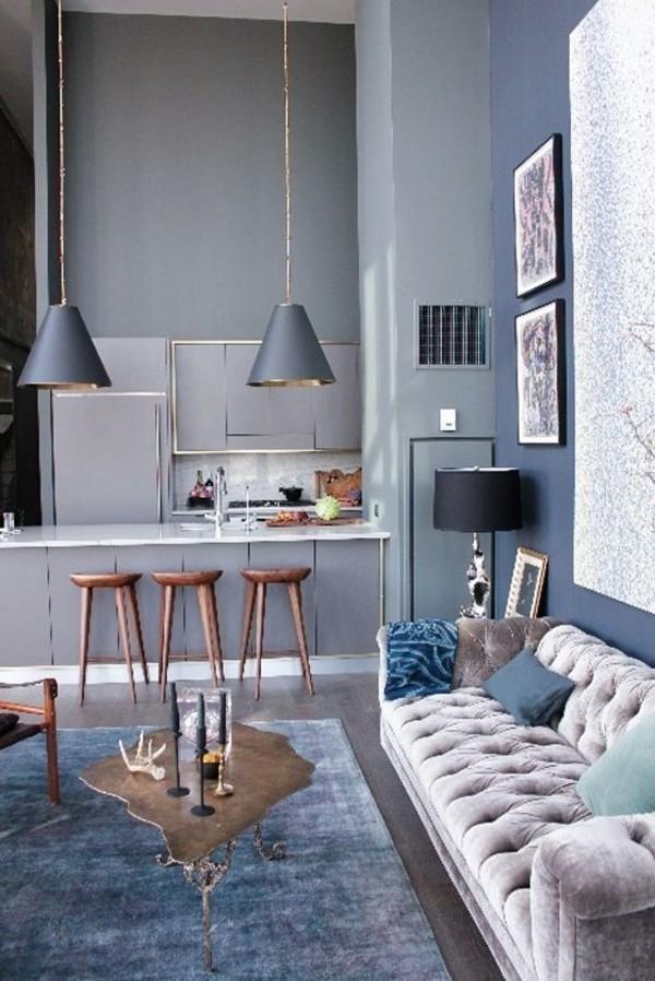 wandfarbe hellgrau moderner raum vintage teppich ausgefallener couchtisch