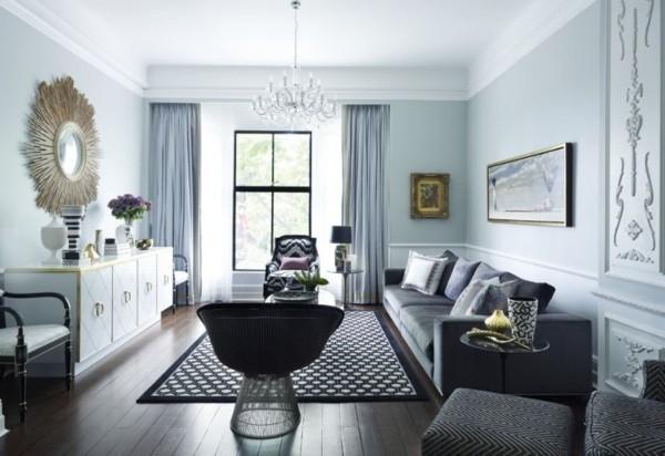 wandfarbe hellgrau modernes wohnzimmer gestalten dunkler holzboden