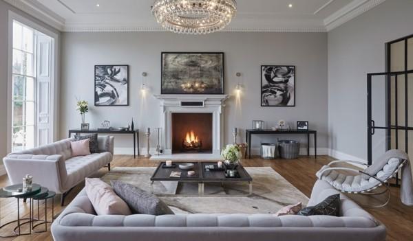 wandfarbe hellgrau schönes wohnzimmer einrichten graunuancen kombinieren