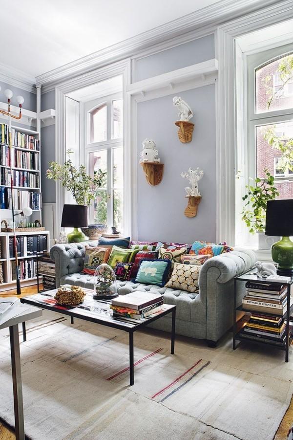 wandfarbe hellgrau wohnzimmer einrichten ideen