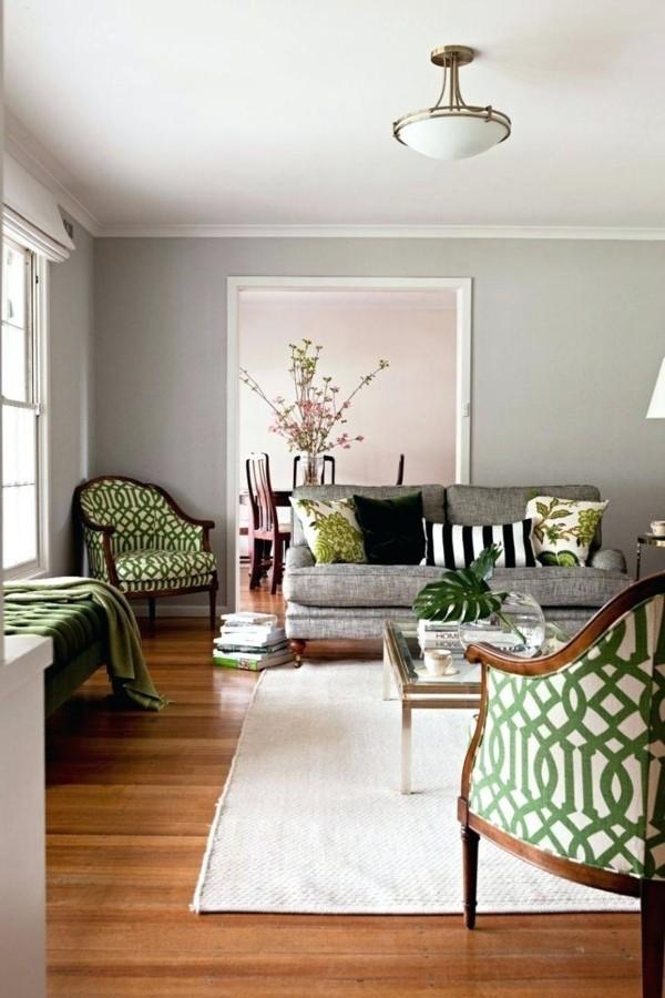 wandfarbe hellgrau wohnzimmer frische muster weißer teppich