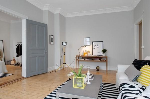 wandfarbe hellgrau wohnzimmer skandinavisch einrichten streifenteppich
