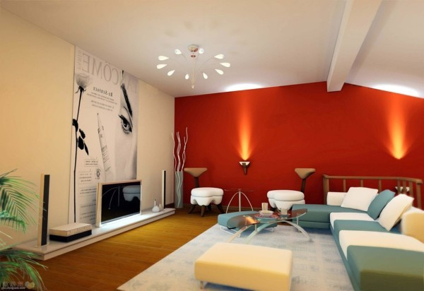 wandleuchten innen wohnzimmer farbige wand