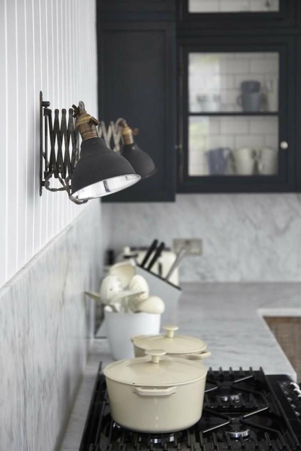 wandleuchten innen küche einrichten industrielles design