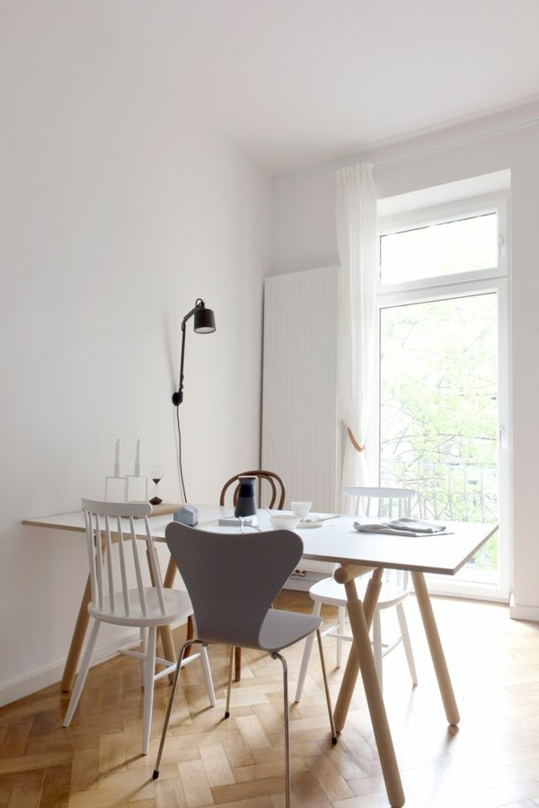 wandleuchten innen skandinavische küche helle möbel