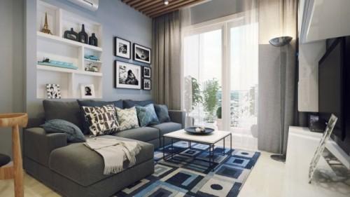 wohnzimmer einrichten ideen hellblaue wandfarbe geometrischer teppich