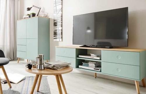 wohnzimmer einrichten ideen helles holz hellgrün