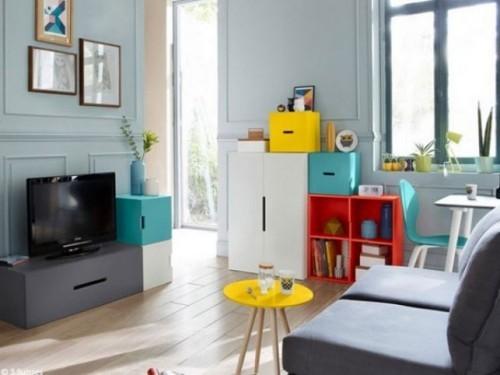 wohnzimmer einrichten ideen kleines wohnzimmer farbige akzente gesättigte farben