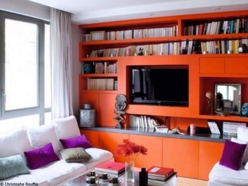wohnzimmer einrichten ideen orange möbel helle gardinen durchsichtig