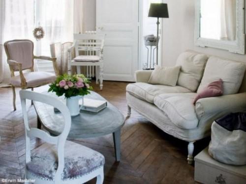 wohnzimmer einrichten ideen shabby chick stil helle farbtöne