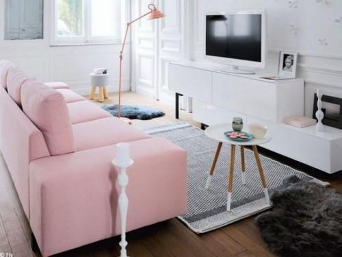 wohnzimmer einrichten ideen weiß rosa grau kombinieren