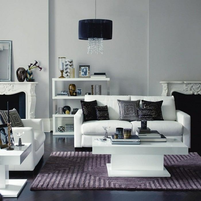 wohnzimmer einrichtungsideen farbe flieder akzent teppich