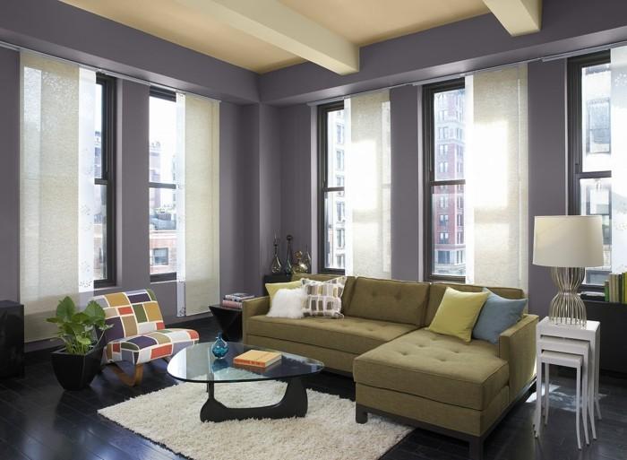 wohnzimmer einrichtungsideen farbe flieder blass