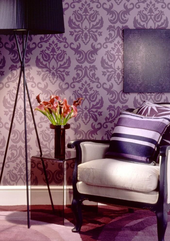 Wohnzimmer Einrichtungsideen Farbe Flieder Bohemian Style