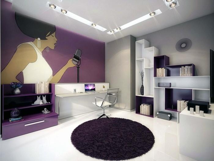 wohnzimmer einrichtungsideen farbe flieder disko