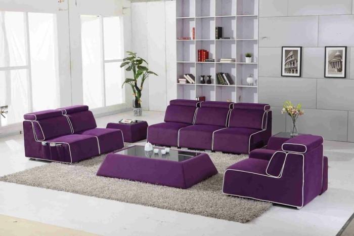 wohnzimmer einrichtungsideen farbe flieder erfrischend