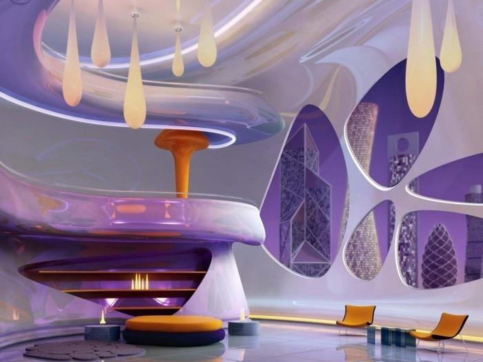wohnzimmer einrichtungsideen farbe flieder futuristisch