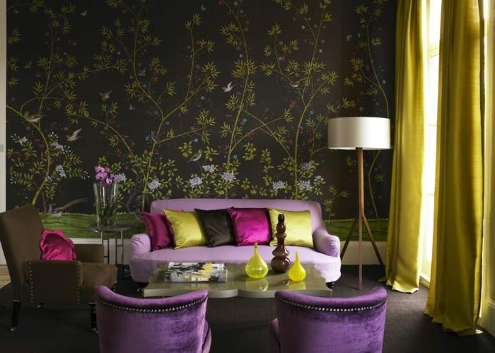 wohnzimmer einrichtungsideen farbe flieder glamour