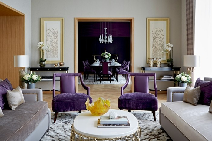 wohnzimmer einrichtungsideen farbe flieder harmonisch