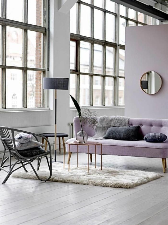 wohnzimmer einrichtungsideen farbe flieder hauch