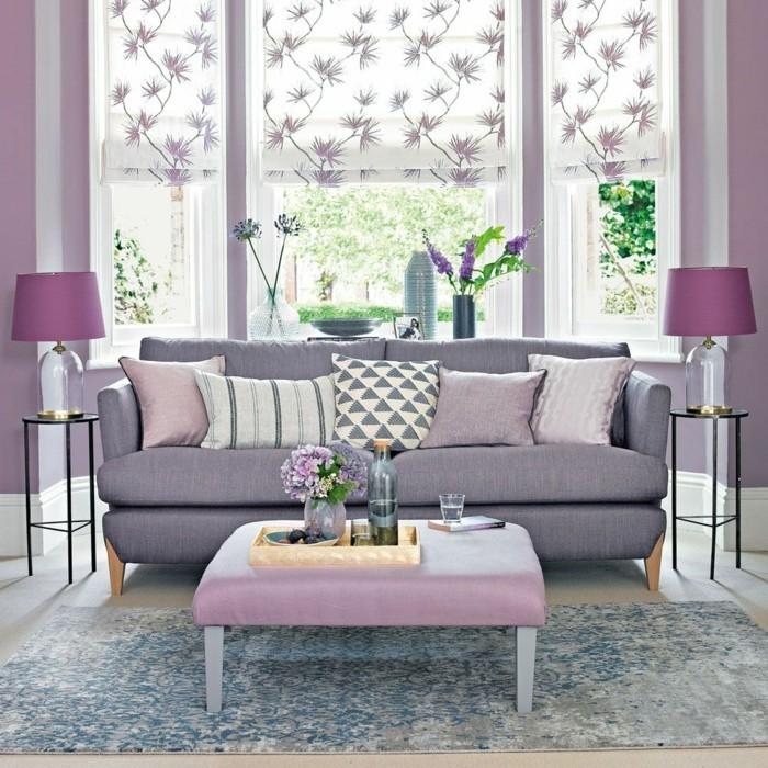 wohnzimmer einrichtungsideen farbe flieder mit grau
