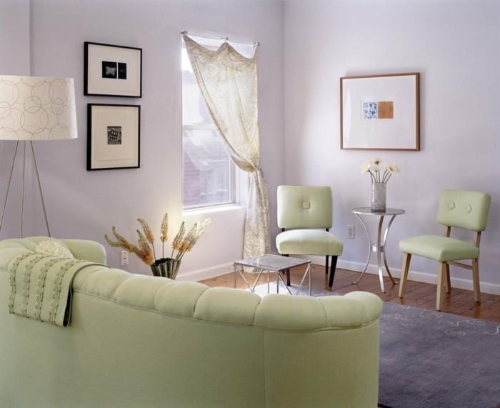 wohnzimmer einrichtungsideen farbe flieder pastell