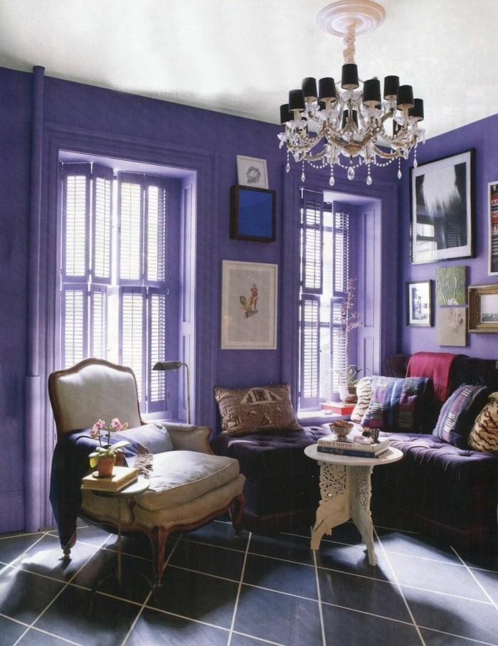 wohnzimmer einrichtungsideen farbe flieder stube kuehl