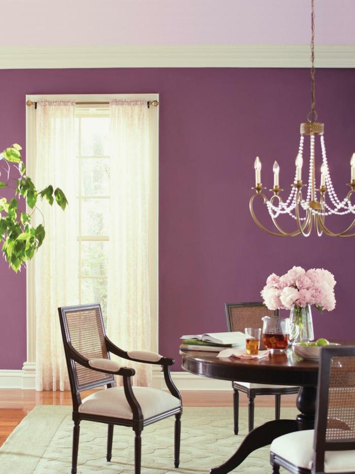 wohnzimmer einrichtungsideen farbe flieder wg zimmer sommerlich