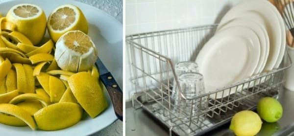 zitrone in der küche benutzen beim geschirr spülen