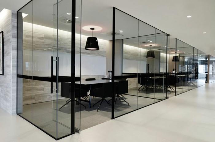 Bürotrennwand aus Glas grossraumbuero schick