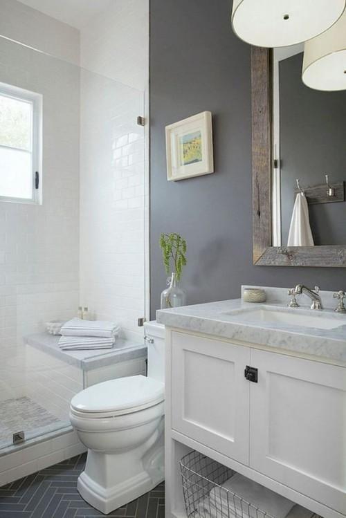 Kleines Badezimmer schicke Badgestaltung helle Farben weiß grau sehr ansprechend