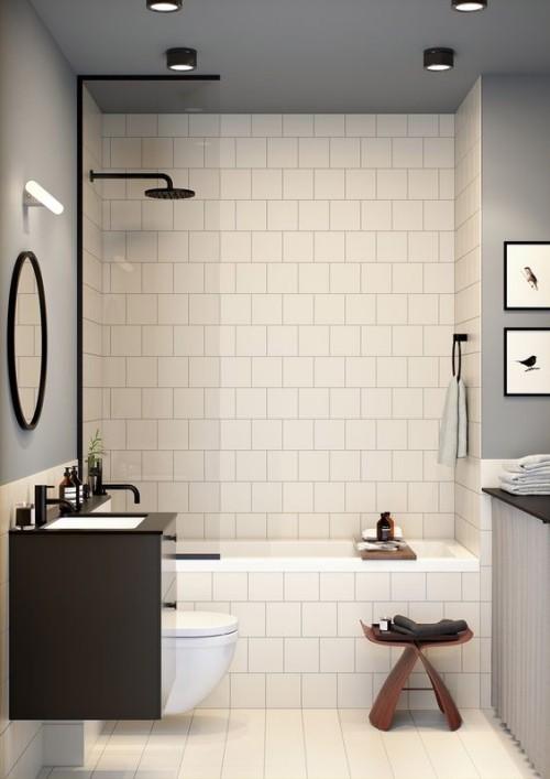 Kleines Badezimmer Stilvoll Gestaltet Gutes Konzept Zwei Farben