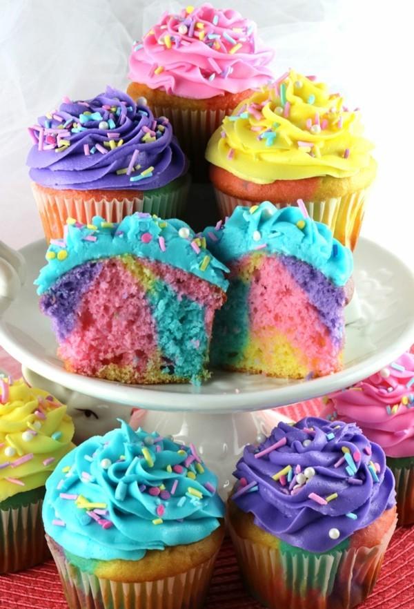 bunte marmor muffins regenboben