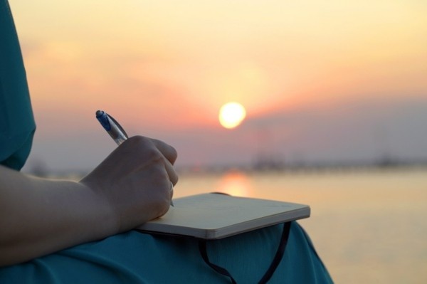 expressives schreiben sonnenuntergang am meer
