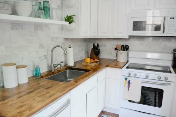 kleine eckküche weiße küchenschränke