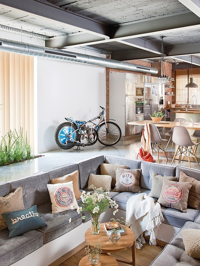 loftwohnung fahrrad als deko