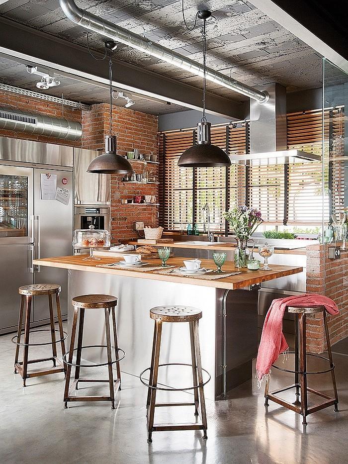 loftwohnung kücheninsel industriell