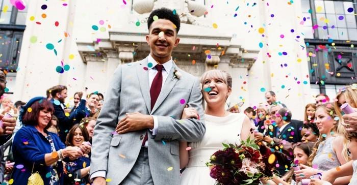 lustige hochzeitsbilder ideen fotoshooting konfeti