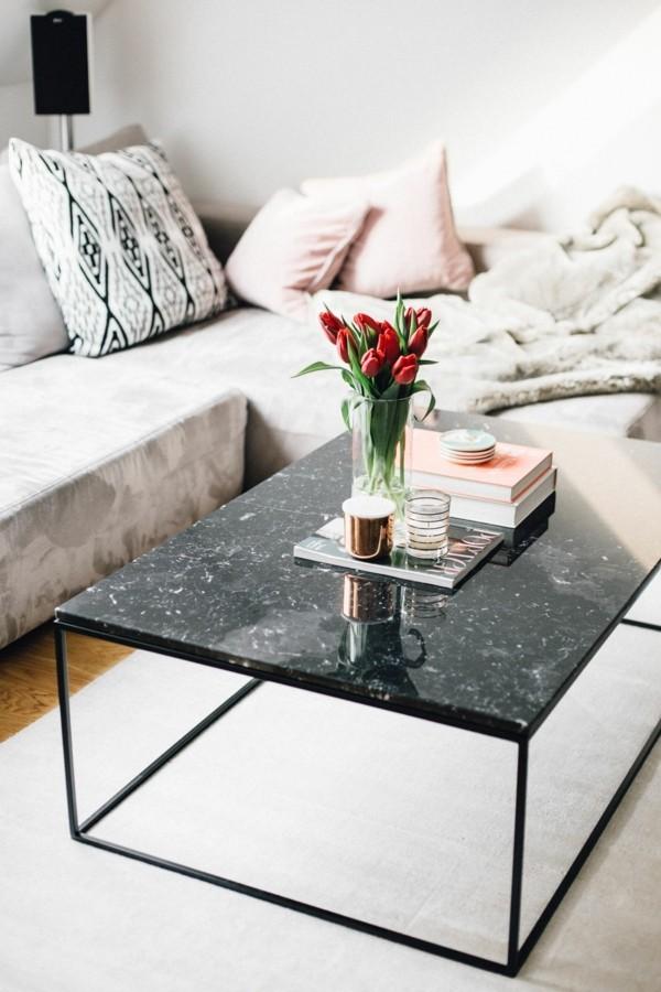 marmor couchtisch dunkel ecksofa wohnzimmer
