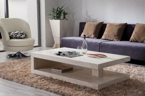 marmor couchtisch hochflorteppich lila sofa