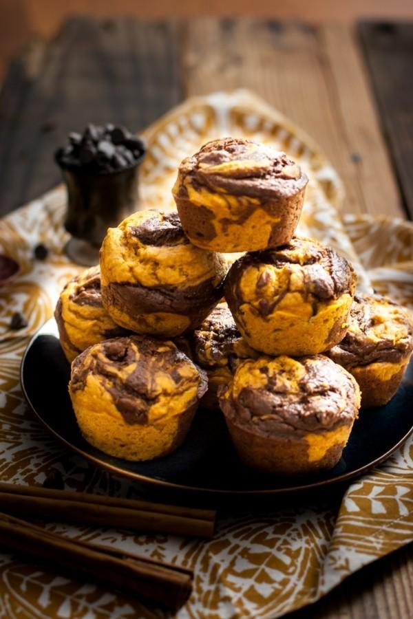 marmor muffins mit schokolade und bananen