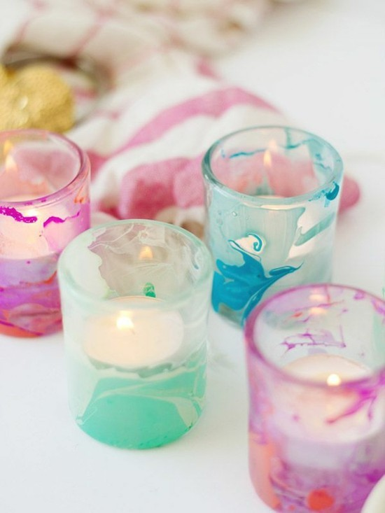 marmorieren mit nagellack teelichter