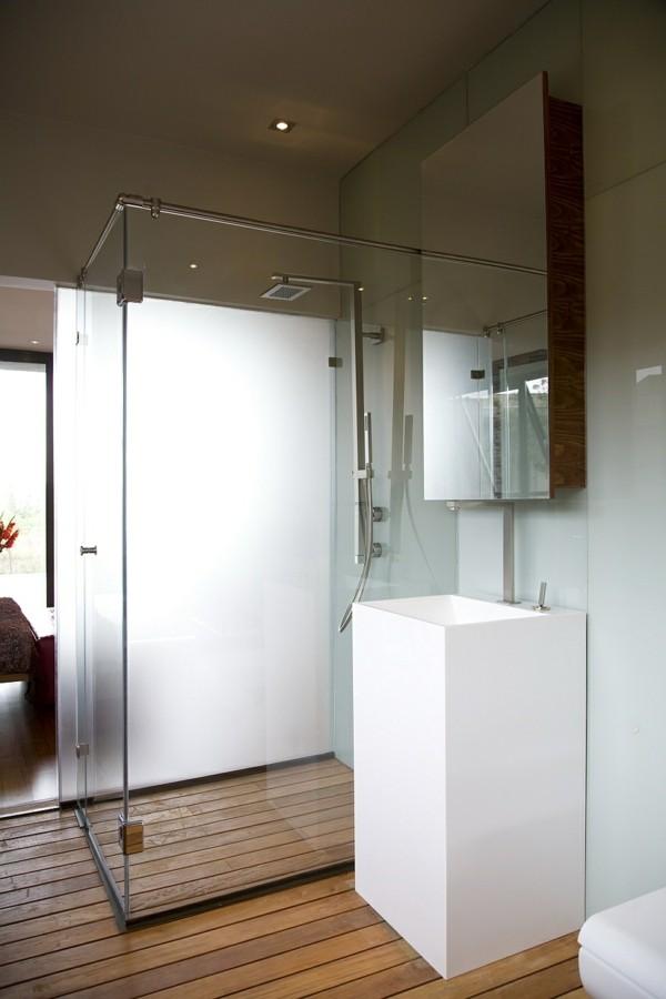 traumhaus durchsichtige dusche und ein weißer waschbecken
