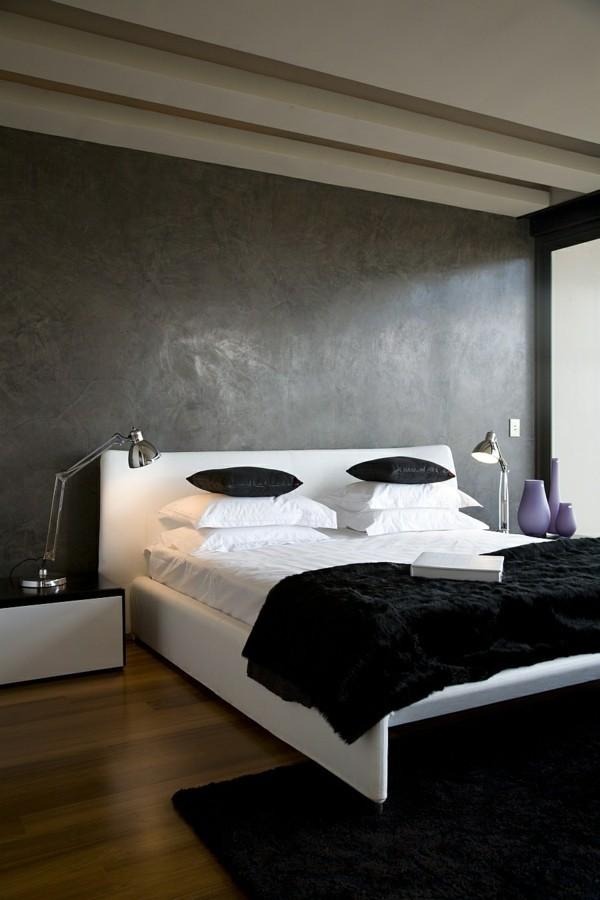 traumhaus schwarz weißes schlafzimmer