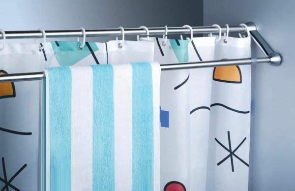 Badezimmer Ideen für kleine Bäder duschvorhang mit extras