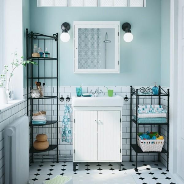 Badezimmer Ideen für kleine Bäder eckregal metall