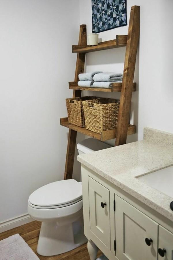Badezimmer Ideen für kleine Bäder holzleiter