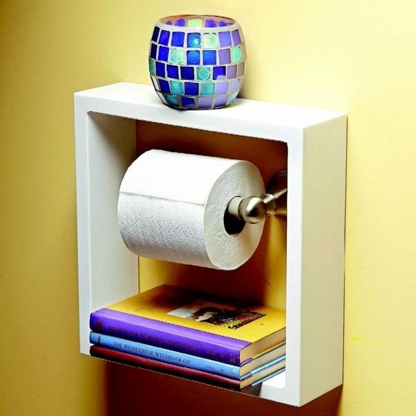 Badezimmer Ideen für kleine Bäder klopapier schrank