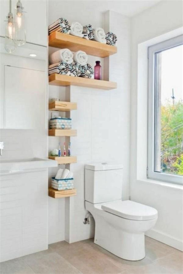 Badezimmer Ideen für kleine Bäder praktisches eckregal